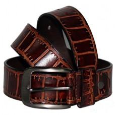 Кожаный джинсовый ремень Крокодил коричневый
