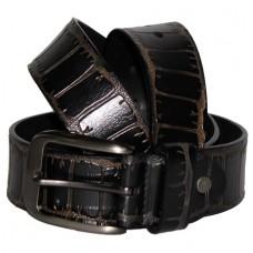 Кожаный джинсовый ремень Крокодил черный