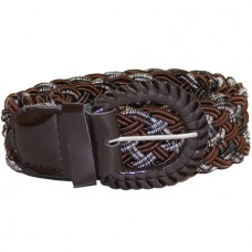 Ремень-плетенка Rococo узкий шоколад+нить