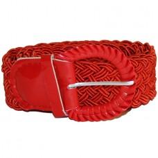 Ремень-плетенка Rococo узкий красный алый