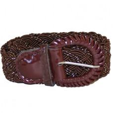 Ремень-плетенка Rococo узкий шоколад+декор