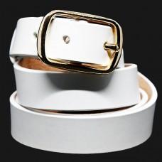 Женский ремень 5552 Кожаный Белый
